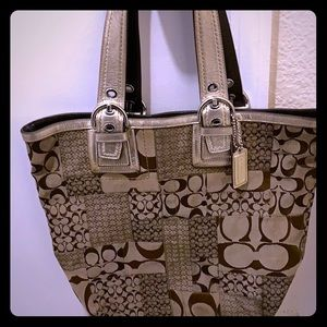 Coach large canvas handbag